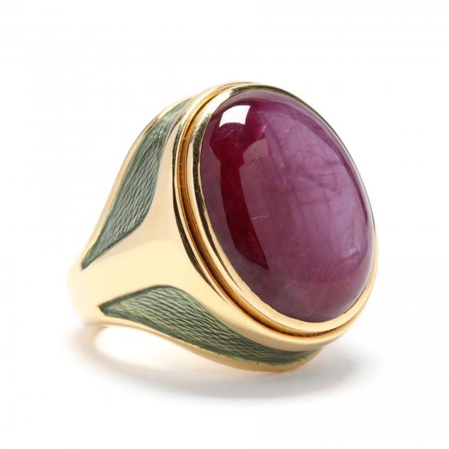 18kt-gold-ruby-and-enamel-ring-de-vroomen