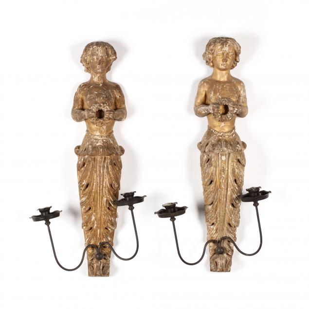 pair-of-antique-figural-carved-wood-sconces