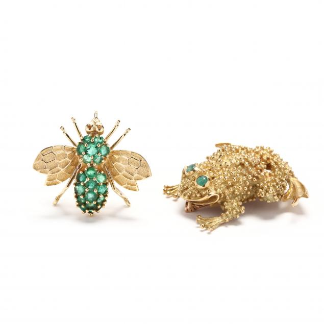 two-whimsical-gold-and-gem-set-brooches