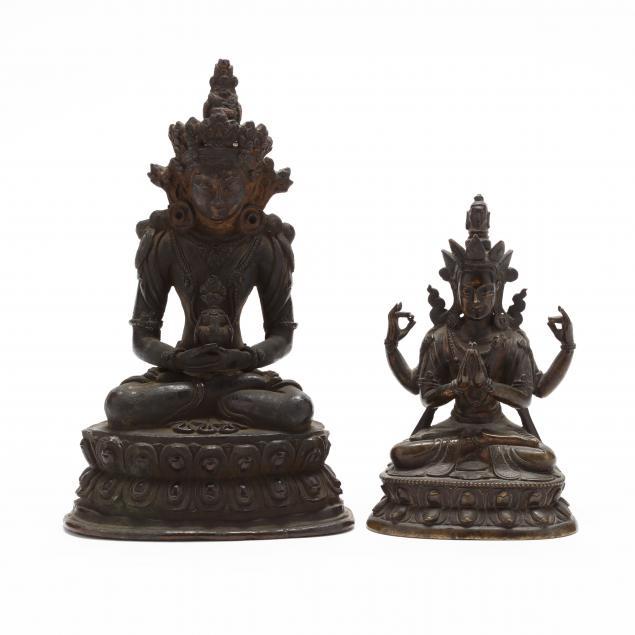 two-tibetan-bronze-sculptures