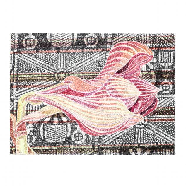 laura-grosch-b-1945-i-amaryllis-on-adire-cloth-i