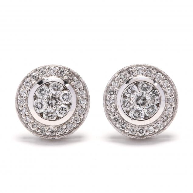 14kt-white-gold-and-diamond-earrings-signed
