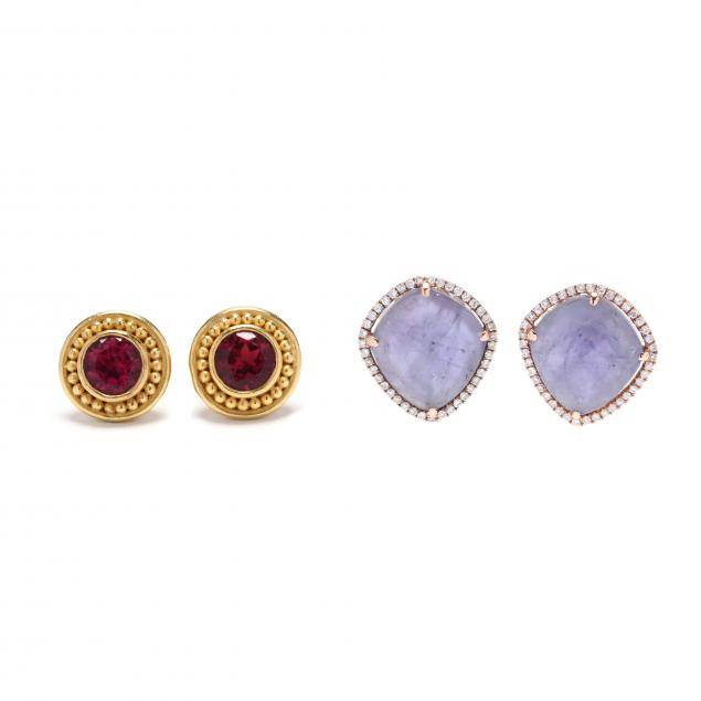 two-pairs-gem-set-earrings-signed