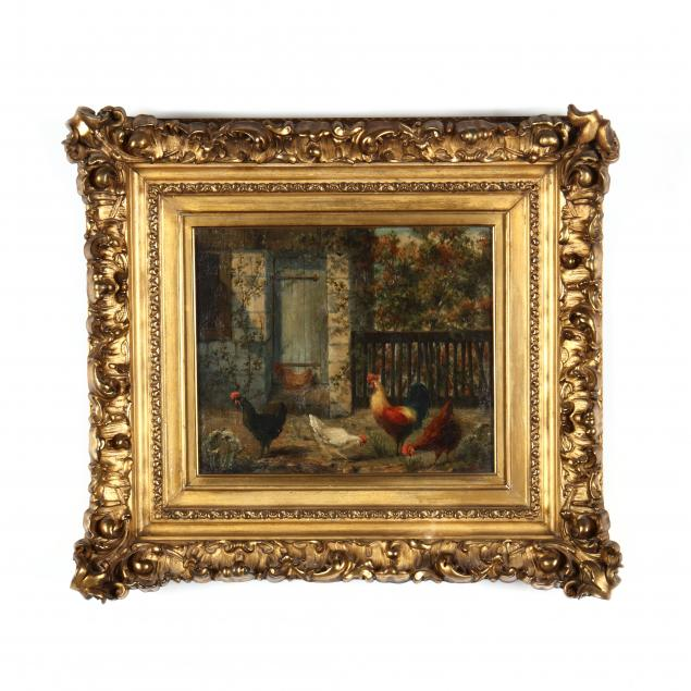 adrianus-m-bouman-dutch-19th-20th-century-farmyard-with-chickens