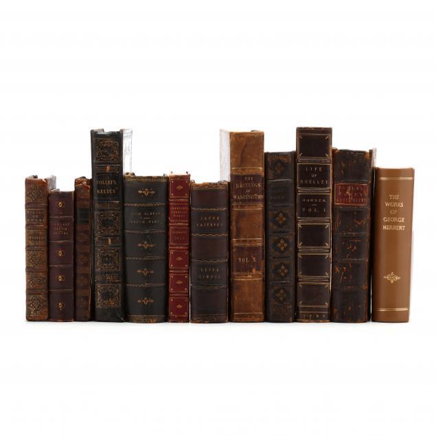 twelve-antique-leatherbound-books-published-1699-1886