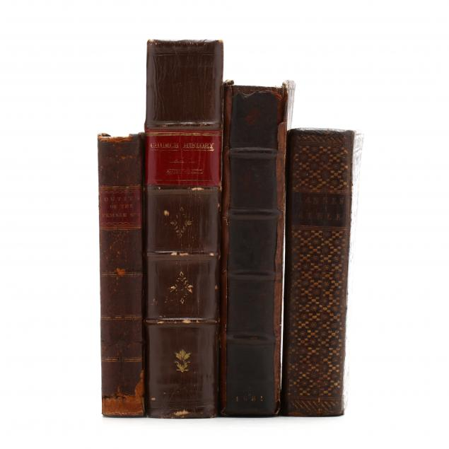 four-17th-and-18th-century-leatherbound-religious-books