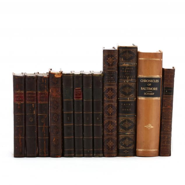 twelve-leatherbound-books-incorporating-two-sets-and-five-individual-works