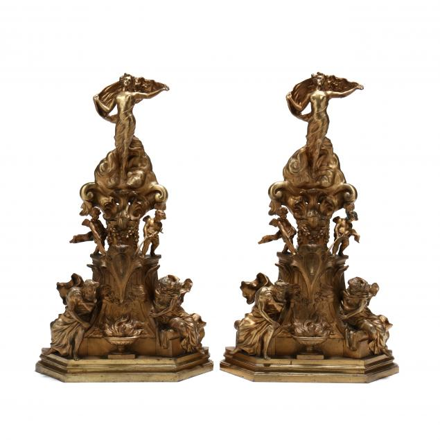 pair-of-large-italian-gilt-bronze-figural-andirons