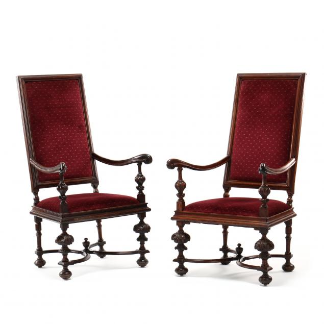 pair-of-antique-continental-baroque-style-carved-and-upholstered-walnut-armchairs
