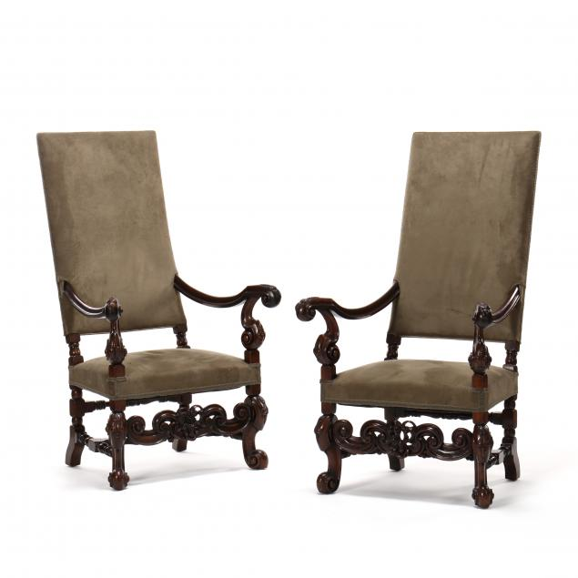 pair-of-antique-flemish-style-carved-and-upholstered-walnut-armchairs
