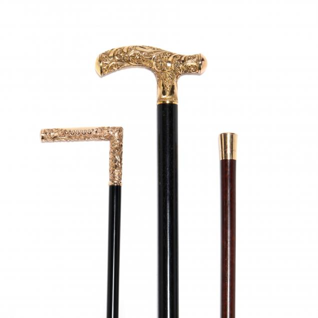 three-antique-gold-topped-canes