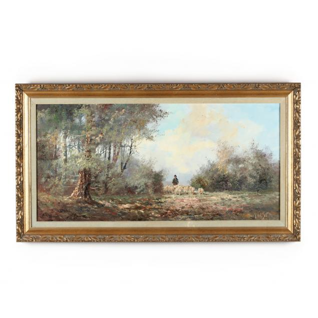 vintage-continental-school-painting-of-a-shepherd-and-his-flock