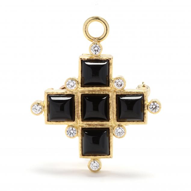 19kt-gold-onyx-and-diamond-brooch-pendant-elizabeth-locke