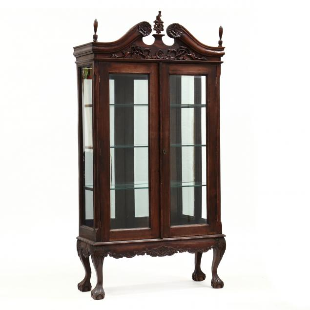 chippendale-style-carved-mahogany-display-cabinet