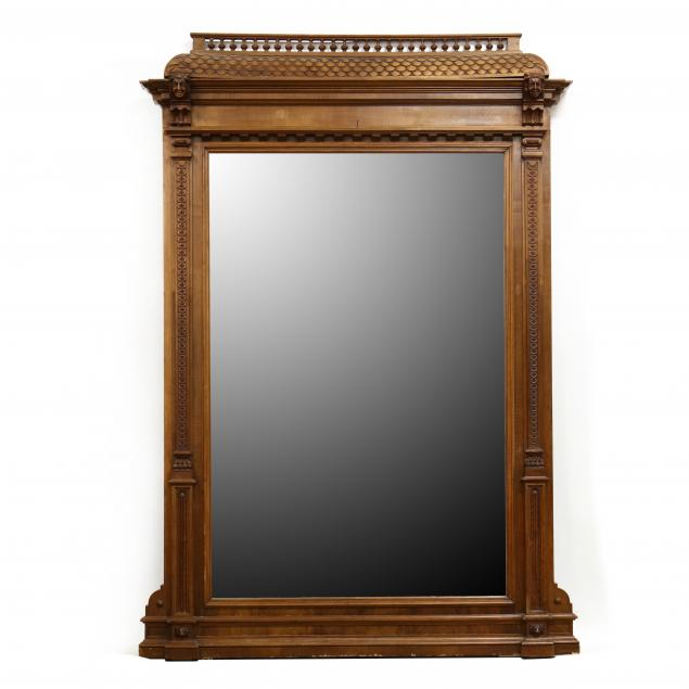 large-antique-carved-walnut-mirror