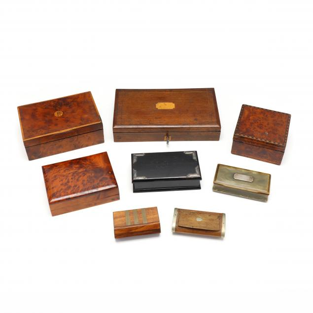 group-of-eight-antique-boxes