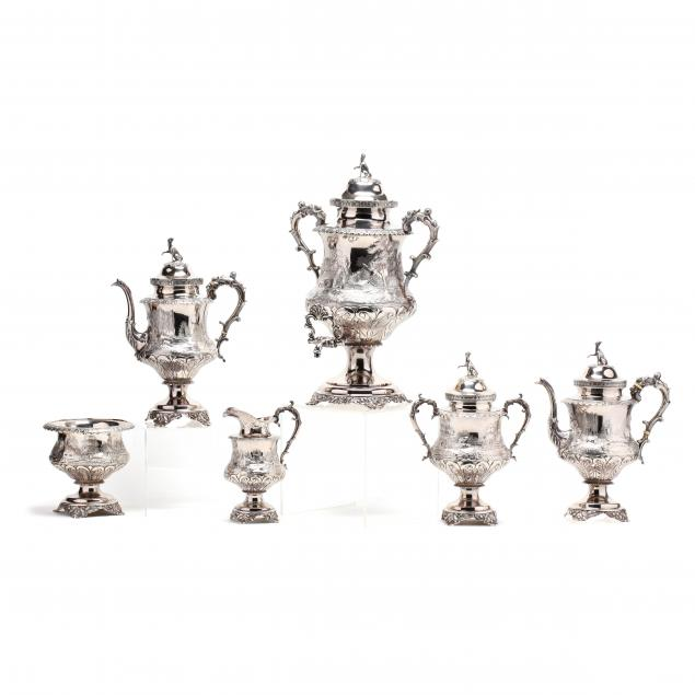 an-important-philadelphia-coin-silver-tea-coffee-service-with-hunt-motif
