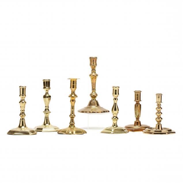 seven-antique-queen-anne-brass-candlesticks