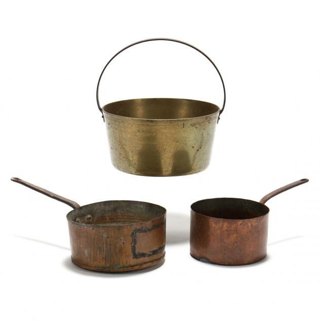 two-antique-copper-pots-and-a-brass-bucket