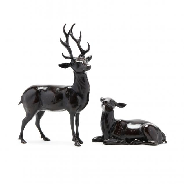two-contemporary-bronze-deer