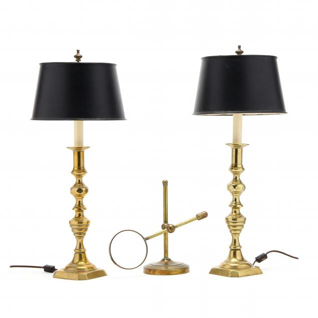 pair-of-brass-candlestick-lamps-and-magnifying-glass