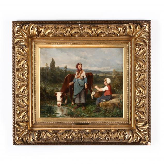louis-lassalle-french-1808-1885-young-milk-maid-with-daughter-and-cow