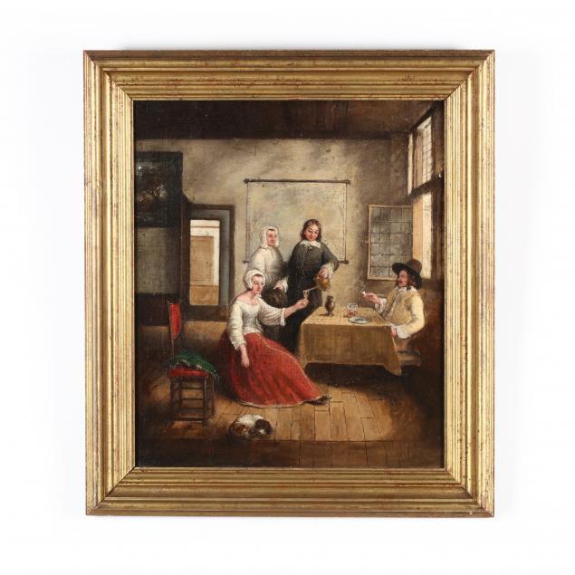 antique-dutch-school-interior-genre-painting