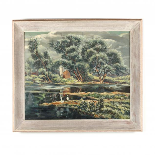wilmer-behler-pa-1915-1994-farm-pond-with-ducks