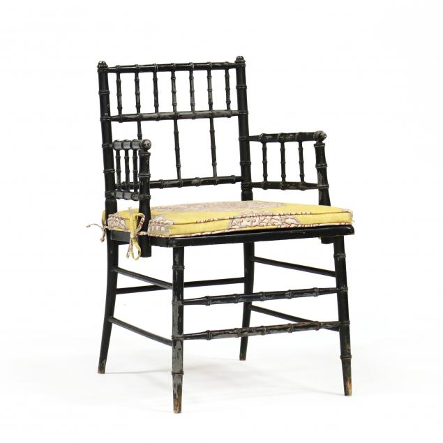 vintage-faux-bamboo-lacquered-armchair