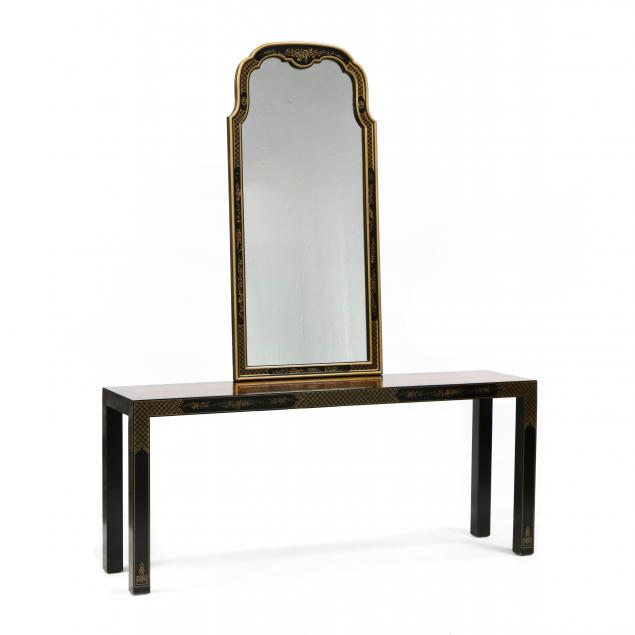 drexel-heritage-chinoiserie-console-table-and-mirror