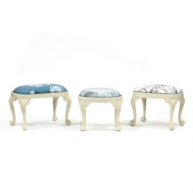 three-chippendale-style-upholstered-stools