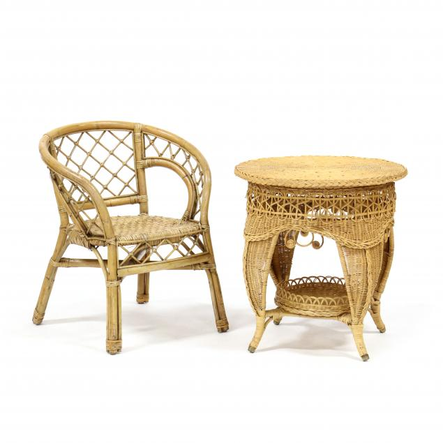 vintage-rattan-armchair-and-side-table