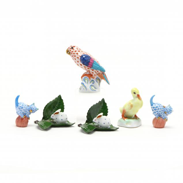 herend-six-small-porcelain-figures-of-animals