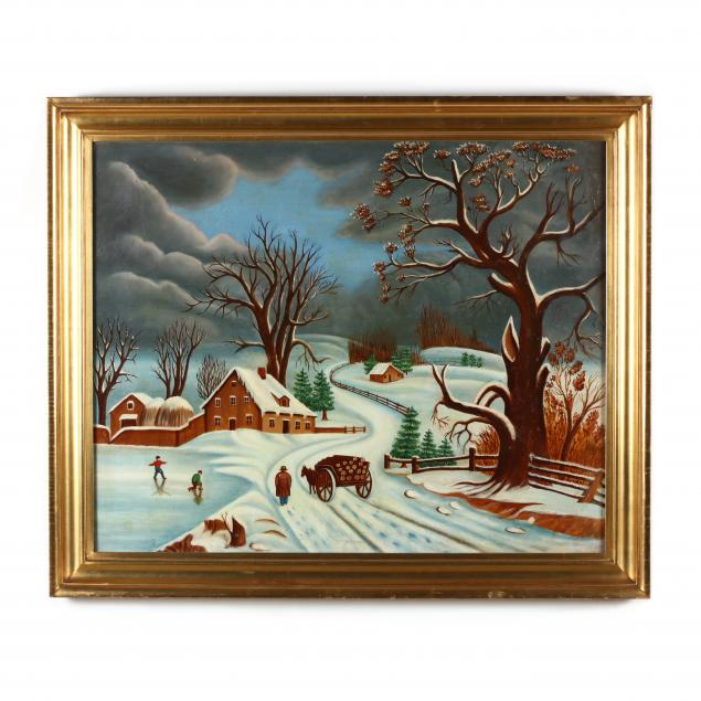 american-primitive-winter-landscape-painting-in-newcomb-macklin-frame