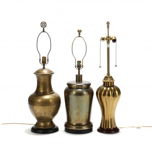 three-vintage-designer-brass-table-lamps
