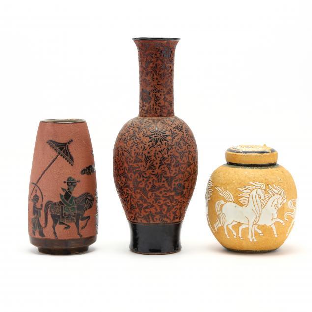 three-pieces-of-dona-art-pottery