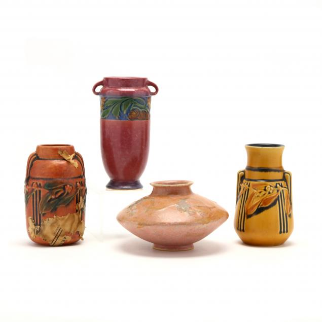 four-roseville-art-pottery-vases