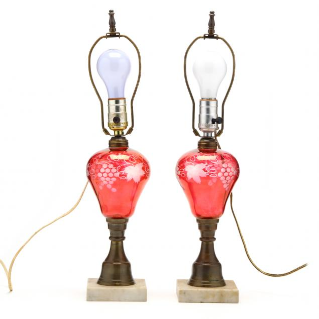pair-of-etched-cranberry-fluid-lamps