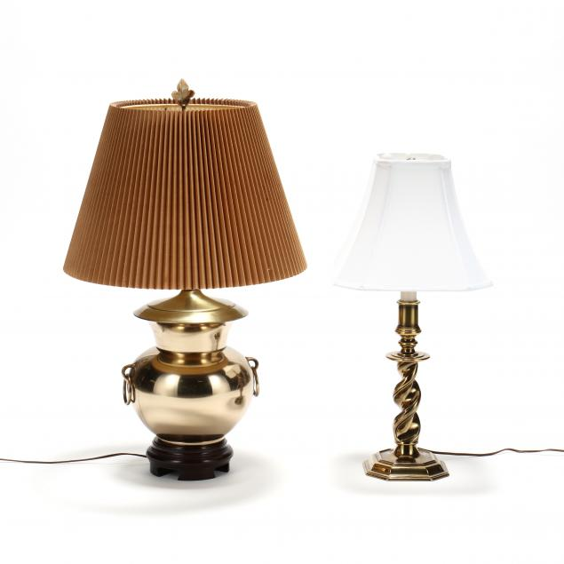 two-decorative-brass-table-lamps