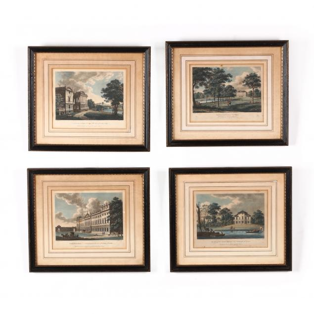 four-antique-engravings-from-i-watts-views-of-seats-of-the-nobility-and-gentry-i