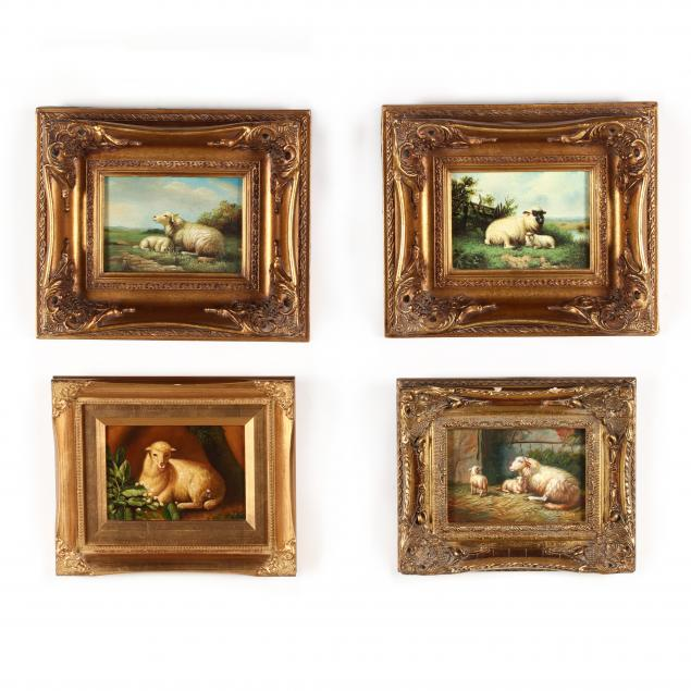 a-collection-of-four-contemporary-decorative-paintings-of-sheep
