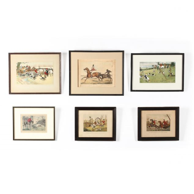 six-assorted-antique-equestrian-prints