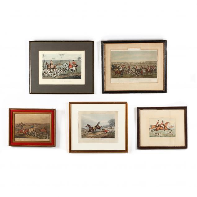 five-assorted-antique-equestrian-prints