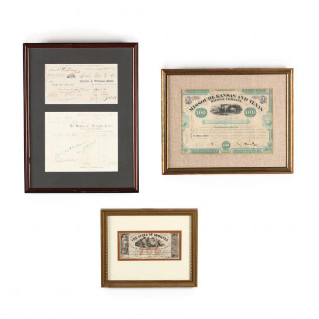 three-framed-19th-century-financial-items