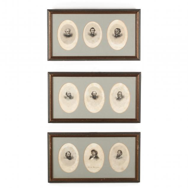 three-frames-with-lithograph-portraits-of-confederate-generals