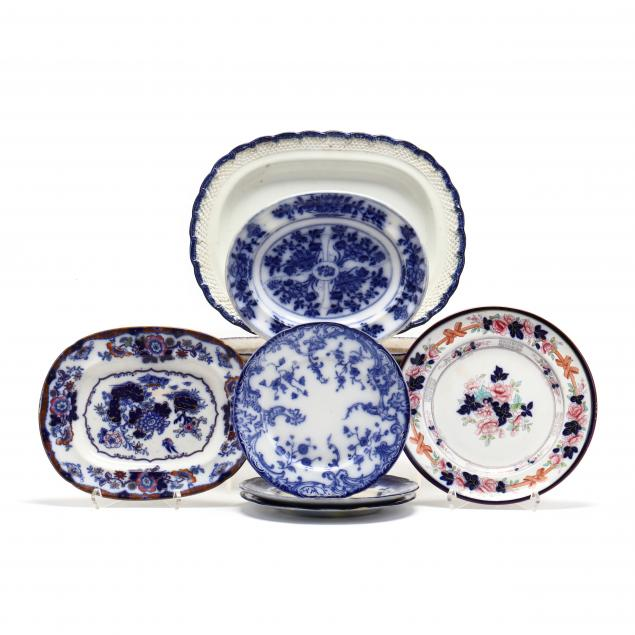nine-antique-transfer-and-flow-blue-serving-dishes