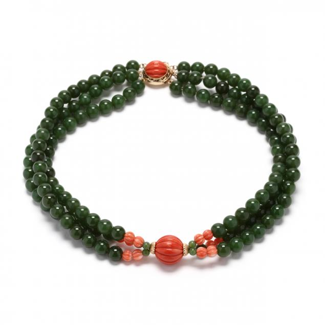 14kt-gold-nephrite-and-coral-choker-necklace