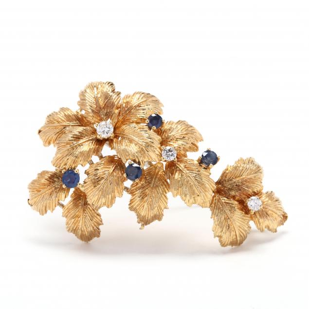 18kt-gold-diamond-and-sapphire-brooch