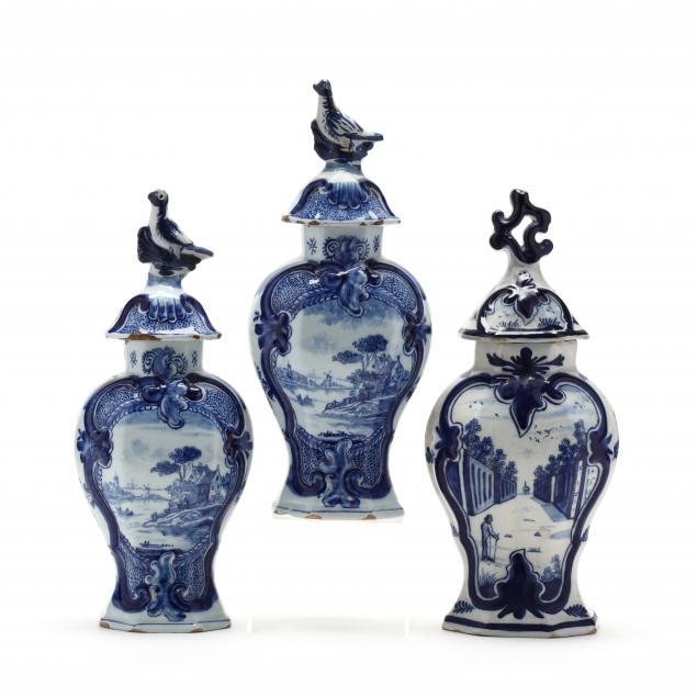 three-18th-century-delft-lidded-jars