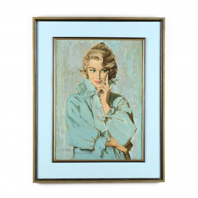 don-neiser-1918-2009-illustration-of-a-woman-in-blue